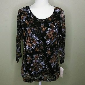 Black & Brown Lace Top with 3/4 Sleeves L NWT